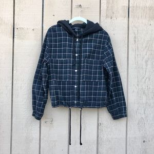 Dark Green Snap Front Drawstring Hooded Flannel